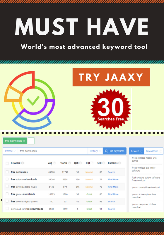 Jaaxy Keyword Tool 30 Free Searches