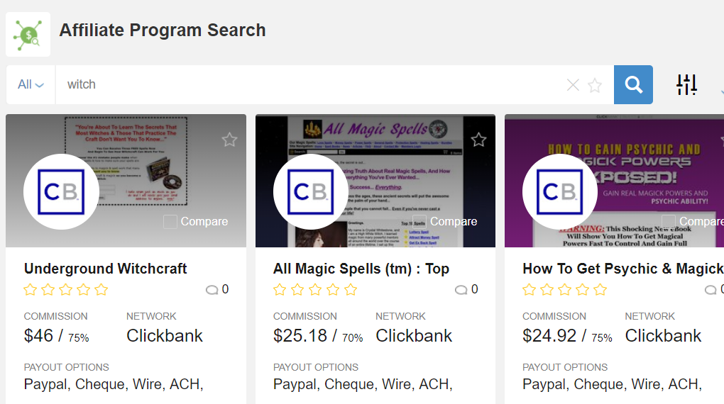 Affiliate Programs In The Witchcraft And Magic Spells Niches