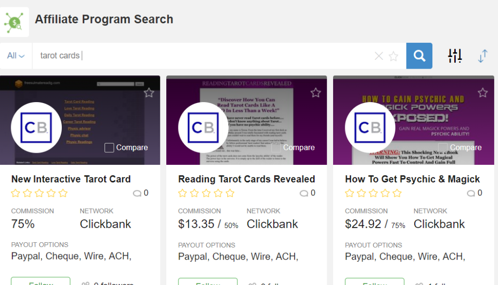 Affiliate Program Search Function